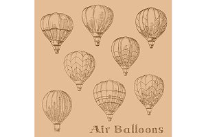 Sketches of hot air balloons