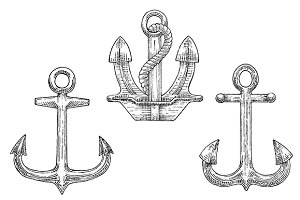 Sketched navy ship anchors