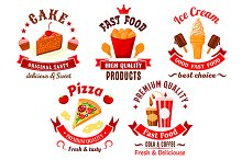 Fast food and pastry icons