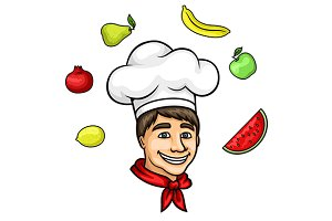 Chef cartoon character with fruits