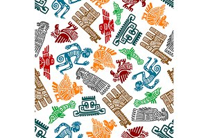 Mayan and aztec totems pattern