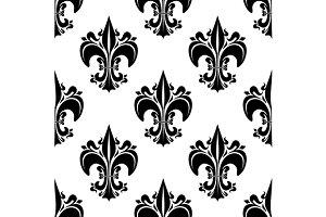 Seamless black fleur-de-lis pattern