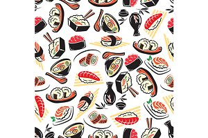 Japanese cuisine seamless pattern