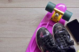 skateboard with bag