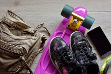 skateboard with bag