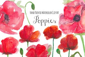Poppies watercolor clip art