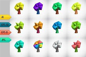 Set pf low poly polygonal tree.