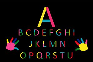 Paint colorful font vector alphabet