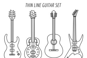 Guitar outline icons set
