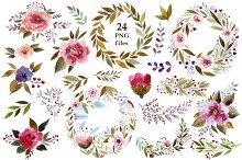 Watercolor flowers & wreaths