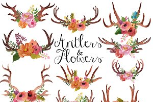 Antlers and flowers clip art