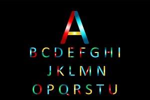 Colorful font neon color