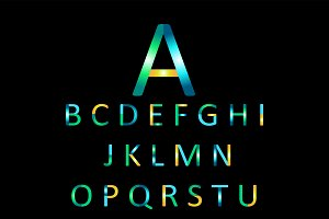 Colorful font metallic vector