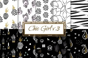 Chic Girl v3. - seamless patterns