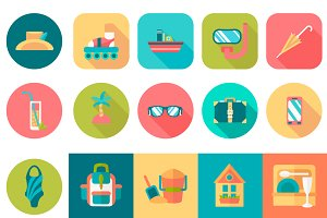 Set of round summer travel Icons.
