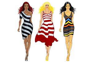 SET girls in a striped dresses
