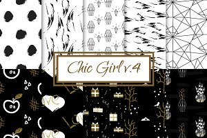 Chic Girl v4. - seamless patterns