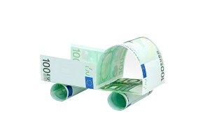 Car made of euro banknotes