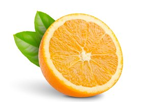 half oranges with green leaf