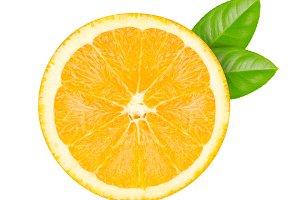 cut oranges with green leaf