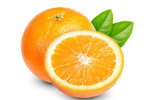 Orange fruit with green leaf