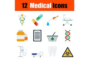 12 medical flat design icons