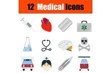 12 medical flat design icons