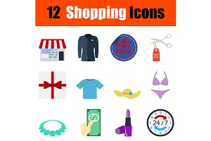 12 shopping flat design icons