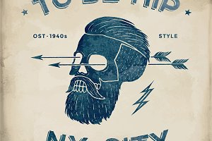 Poster of skull hipster label