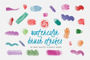 25 Watercolor Brushes