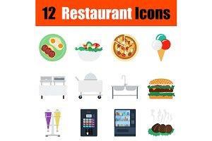 12 restaurant flat design icons