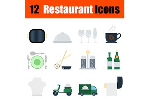12 restaurant flat design icons
