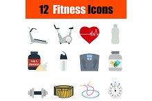 12 fitness flat design icons