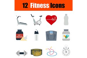 12 fitness flat design icons