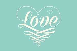Hand lettering Love in heart