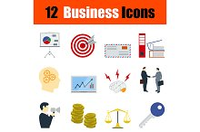 12 business flat design icons