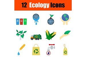 12 ecology flat design icons