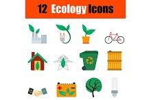 12 ecology flat design icons