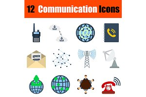 12 communication flat design icons