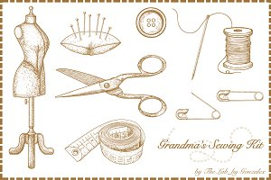 Grandma's Sewing Kit-Hand Drawn Icon
