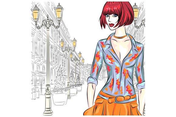 Fashion girl in St. Petersburg.