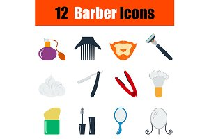 12 barber flat design icons