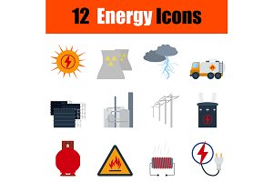 12 energy flat design icons