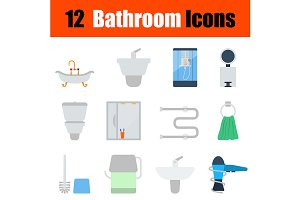 12 bathroom flat design icons