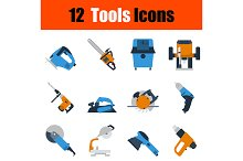 12 tools flat design icons