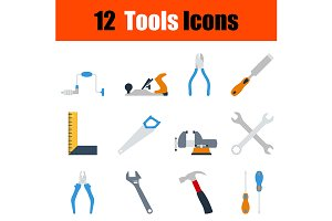 12 tools flat design icons