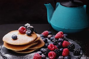 Pancakes on a Slate Board