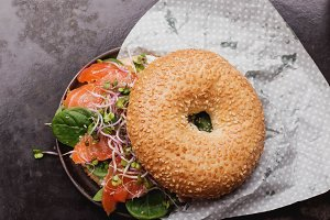 Salmon Bagels on Black Metal Tray