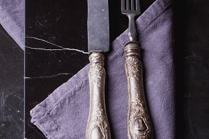 Vintage Fork and Knife on Marble