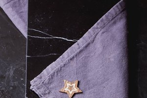 Marble Background with Blue Napkin